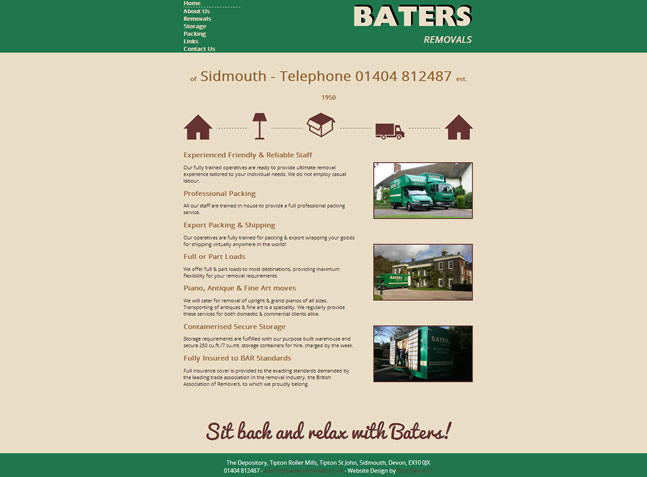 Baters Removals Website